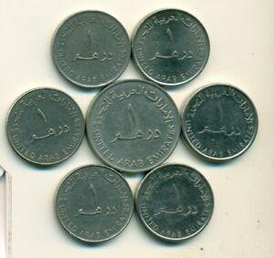 7 - 1 DIRHAM COINS from the UNITED ARAB EMIRATES (1976/95/98/2005/07/12/14)