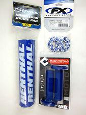 "Renthal Blue 10"" Crossbar Bar Pad Grip Donuts ODI Ruffian MX Grips Set YZ WR TTR"
