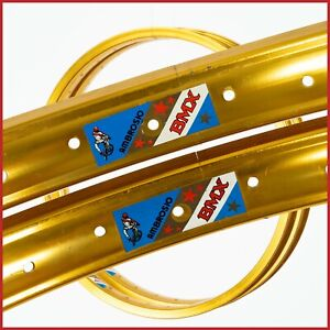 "NOS AMBROSIO RIMS BMX 20"" 36H VINTAGE CLINCHER 70s 80s GOLD PROFILE OLD SCHOOL"