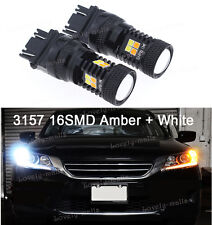 3157 LED Switchback 16 SMD Dual Color White Yellow Turn Signal Light  3056 3456