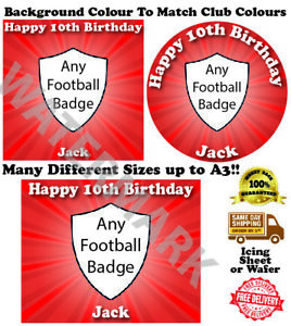 Any Football Team Badge Edible Wafer Icing Cake Topper Costco Any Size upto A3