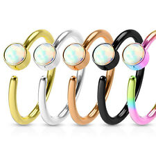 Tragus Piercing Ring Septum Nosering Helix Cartilage Daith Ear Studs Earrings Opal Imitation Stone Gold 0.8mm