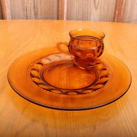 Vintage Indiana Glass Amber Kings Crown Thumbprint Snack Set Cup and Plate