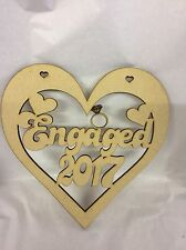 Engaged 2017 Heart 150mm Approx Craft Mdf Wood Laser Cut Wooden