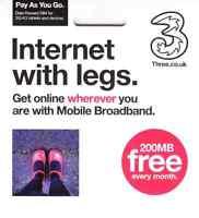 UK Three Mobile Broadband Trio Size Data SIM Card FREE 200MB every month