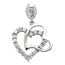 14K White Gold 0.25 ct Daimond Two Connected Overlapping Hearts Pendant