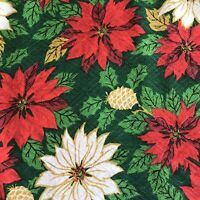 Christmas Poinsettia Fabric Table Cloth Square Green Red Gold 49 x 49  Vintage