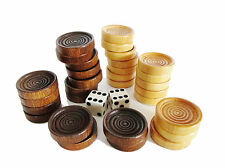 30 Backgammon Pieces Wooden Checkers + Dice Wood Brown & Bigelow