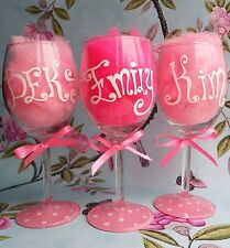 Personalised Hand Painted birthday 16th 20th 21st 30th 40 50 wine glass gift 60