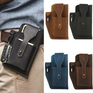 Retro Mens Waist Bag Genuine Leather Cell Phone Holster Case w/ Belt LoopS ports