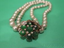 Vintage Miriam Haskell Pearl Necklace Emerald Green Carved Stones