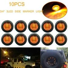 """10Pcs 3/4"""" Amber Round 3 LED Side Marker Light Clearance Stop Turn Tail Lamps"""