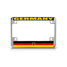 GERMANY WITH SEAL Flag Metal Motorcycle Bike License Plate Frame Tag Border