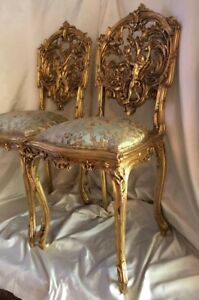 Pair of 18th Century Louis XV Regency Chairs of sculpted Giltwood ,Silk Jacquard