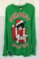 GRINCH GREEN CAT MEOWY UGLY CHRISTMAS SWEATER LED BLINKING LIGHT sz XL