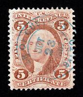 """US REVENUE SCOTT #R24C """"CERTIFICATE"""" CASHIER OF CUSTOMS BALTO BLUE SON CDS 1867"""