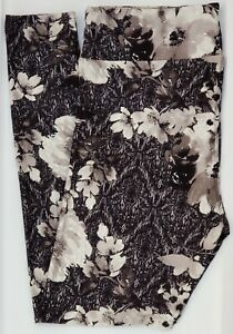 OS LuLaRoe One Size Leggings Gorgeous Gray Black Flowers NWT E60