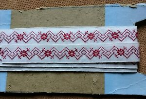 QUALITY RED EMBROIDERED COTTON BRAID