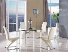 Torino Tempered Glass Aluminium Dining Room Table & 4 Black Zed Leather Chairs Ivory