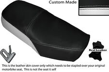 Blanco Y Negro Custom encaja Suzuki Gn 125 94-01 Cuero Doble cubierta de asiento solamente