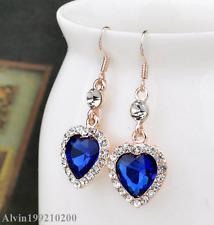 Women Vintage Ocean Blue Heart Drop Crystal Rhinestone Ear Hook Earrings Jewelry