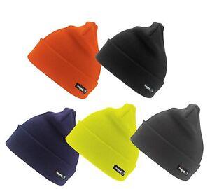 Orange Gris Jaune Bleu ou Noir Chaud Laine Tricotée Ski Bonnet Thinsulate