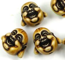 5 Antique Resin Imitation  Bone Happy Buddha 3-D Beads 18mm