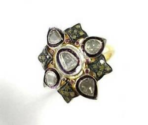 Rose Cut Polki Diamond Ring,Natural Ruby Gemstone ring,925 Sterling Silver,Gift
