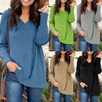 Women Long Sleeve Pullover Casual Blouse Loose Baggy Jumper Shirt Basic Tops NEW
