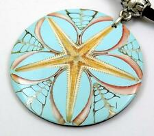 Turquoise Natural Cone Shell Starfish Pendnat Cord necklace Women Jewelry CA422