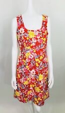 SPENSE Sheath Dress Sz 6 Red Blue Yellow Floral Sleeveless Square Neckline NWOT