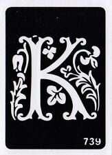 GT739 Body Temporary Glitter Tattoo Stencil Letter K