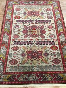 Antique Old Used Handmade Caucasians Wool Rug Carpet Chic,Size:5.10ft By 4.2ft