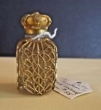Vintage Austrian Miniature Gold Filigree Encased Over Glass Mini Perfume Bottle