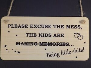 """""""Kids are little shits"""" Funny Wooden children mess rude sign Plaque Present Gift"""