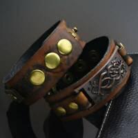 Vintage Punk Cool Men Women Wide Leather Belt Bracelet Cuff Wristband Bangle UK