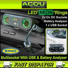 Anello RMS7 12v Auto Multi Presa doppia con presa USB & Battery Analyser Adattatore