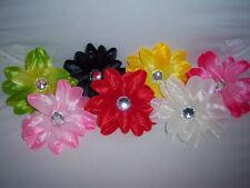 PICK 1 girls tropical DAISY hawaiian FLOWER LILLY crafts BRIDAL hair RHINESTONE