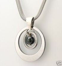 Tungsten Carbide Men's Circle Necklace with Snake Chain