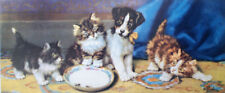 JACK RUSSELL SMOOTH FOX TERRIER KITTEN CAT & DOG ART PRINT - Victorian -