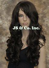 STRIKING! Long Wavy Curly with bangs Dark Brown Layered Stunning Wig win 4