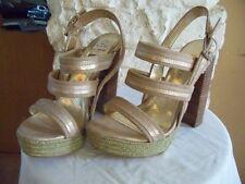 Sandals LR-Jolie Ladies Ankle straps Canvas Gold Shoes Size USA 8 Medium B,M