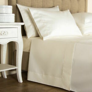 VERY RARE FRETTE SINGLE AJOUR HEMSTITCHED SATEEN 2 KING PILLOWCASES IVORY ITALY