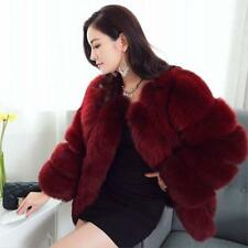 Womens Ladies Faux Fox Fur Solid Winter Coat Jacket Warm Parka Outwear Overcoat