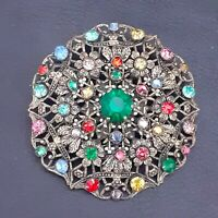 Gorgeous Vintage CZECH Art Deco Multi Coloured Filigree Large Round Brooch