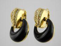 Vintage Grosse White Rhinestone and Black Enamel Clip on Earrings Goldtone Metal