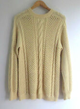 Women Butter Cream Hand Knit Wool Jumper sz 14 (S1)