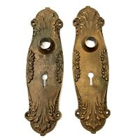Antique Art Nouveau Door Knob Backplates Deco Heavy Brass Bronze Hardware Vtg