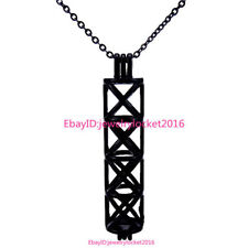 -H196 Black Long Rectangle Beads Pearl Akoya Oyster Cage Locket Pendant Necklace