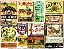 Farm & Country Stickers, Wagon, Cattle Feed, Windmill, Creamery, Ranch, 2 Sheets